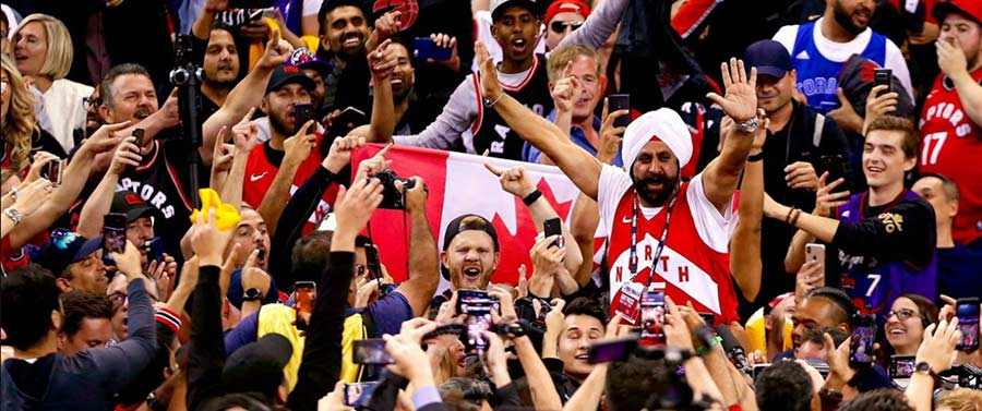 Nav Bhatia in the crowd during the 2019 NBA Championships