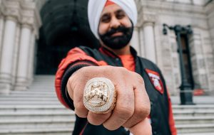 Nav Bhatia showing his Toronto Raptors We the North ring