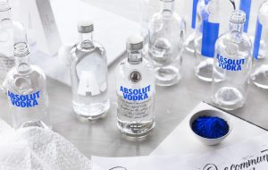 Absolut Vodka bottles on a table top