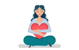 Drawing of a woman hugging a large cartoon heart