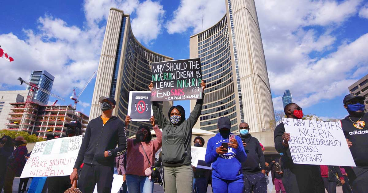 EndSARS protestors at a demonstration in Toronto's Nathan Philips Square