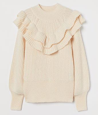 H&M Ladies' Flounced Rib-Knit Sweater