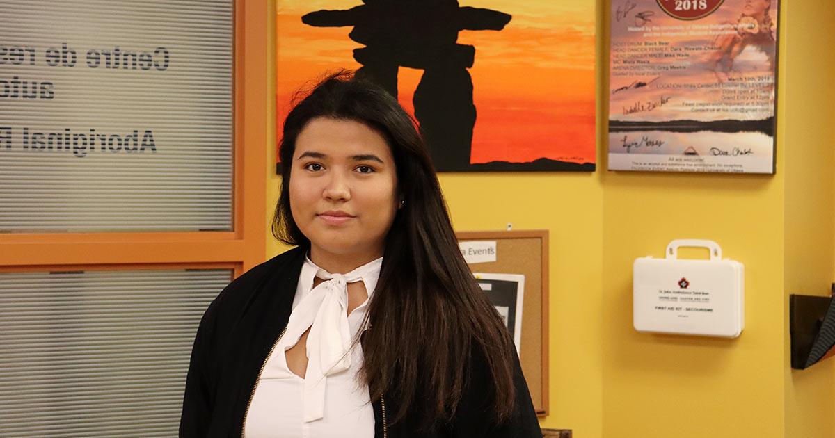 Kyra Hagerty, a member of the Cree Nation and a student at uOttawa