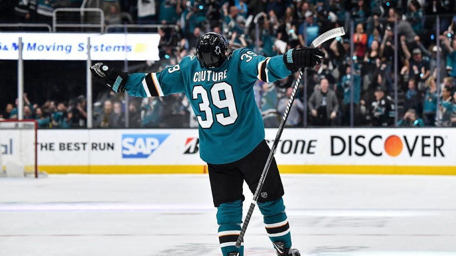 Logan Couture Celebrating on Hockey Rink