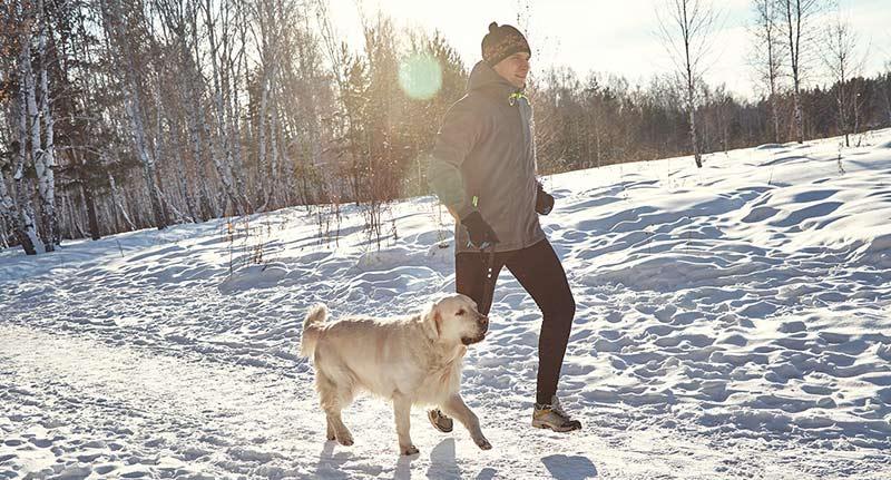Man an his golden retriever jogging through the snow