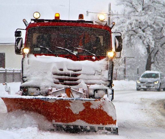 Snow plow on the job