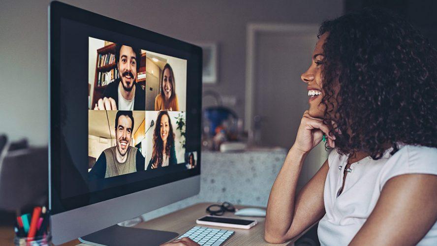 Woman having fun on a video call