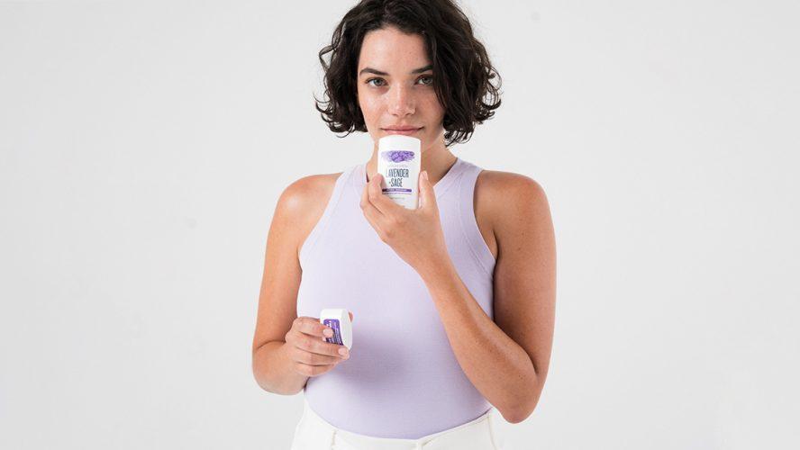 Woman smelling Schmidt's deodorant