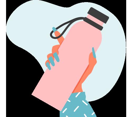 Cartoon of hand holding water bottle