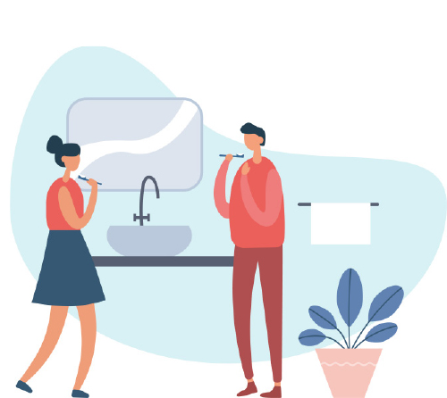 Cartoon of man and women conversing in restroom