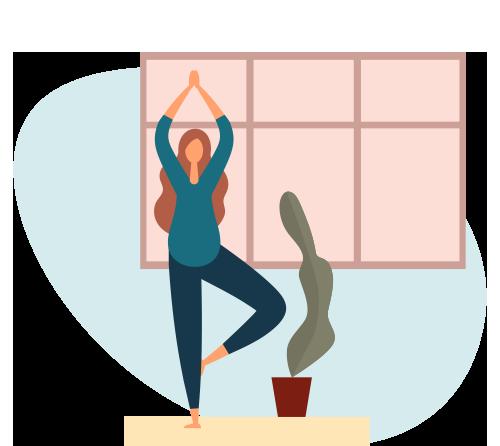 Cartoon of women doing yoga