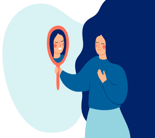Cartoon of women looking at a mirror