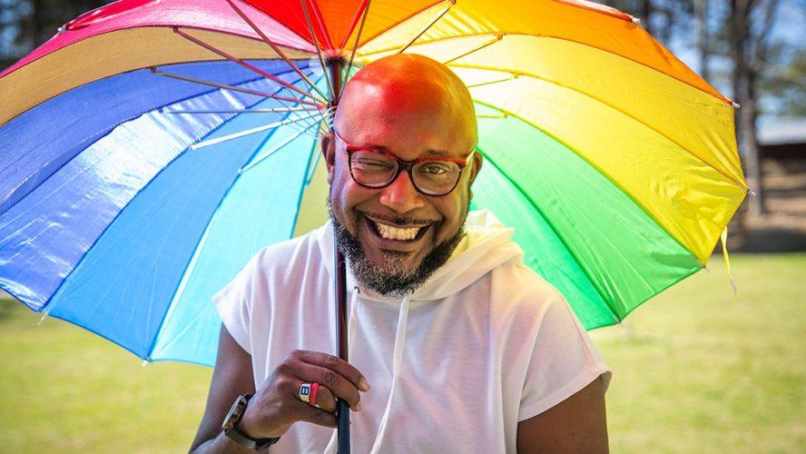 african american man pride umbrella