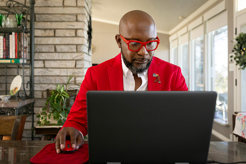 african american man red jacket