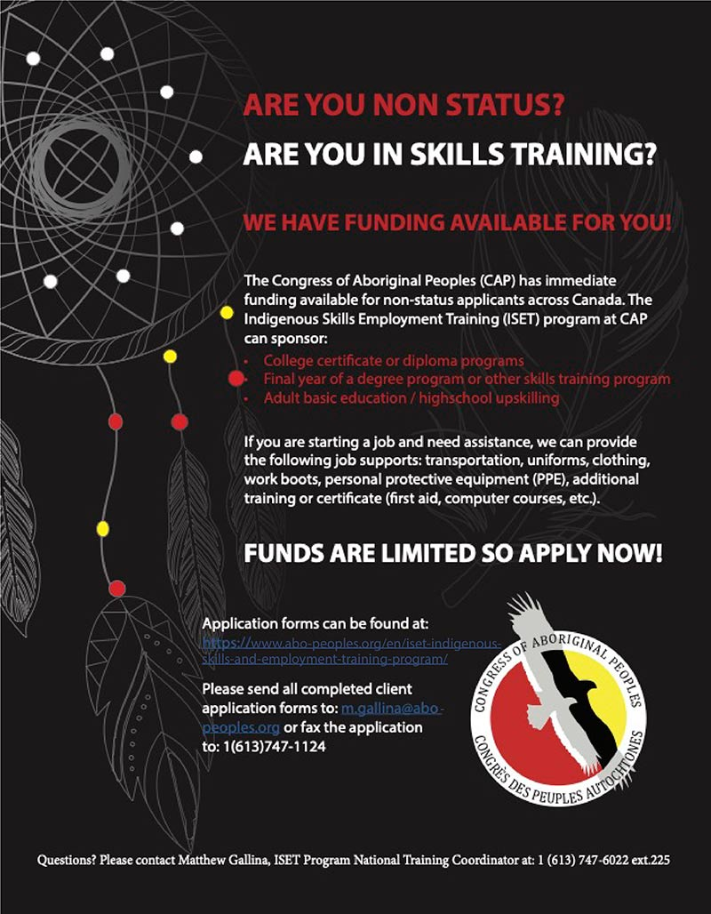 congress of aboriginal peoples non status applicants english