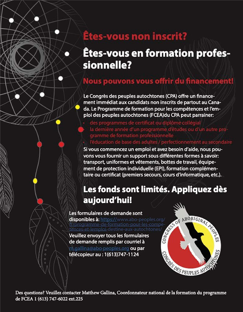 congress of aboriginal peoples non status applicants french