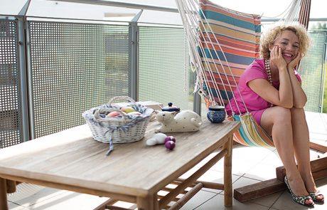 Joanna Keszka na balkonie