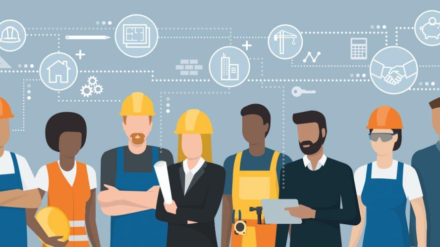 Illustrasjon av byggebransjen