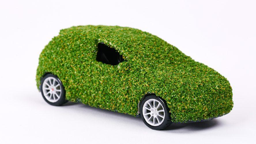 Bil dekket av gress