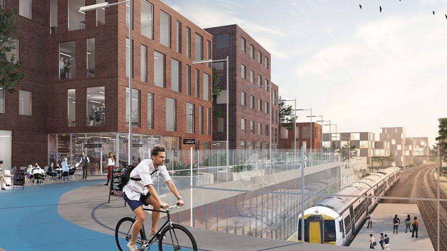 Illustrasjon av hvordan Lørenskog stasjonsområde vil se ut