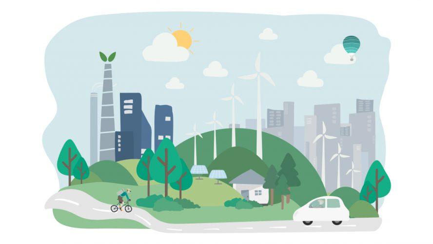 Illustrasjon av en moderne by