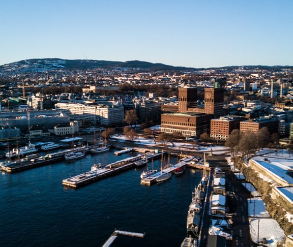 Dronefoto over Oslo