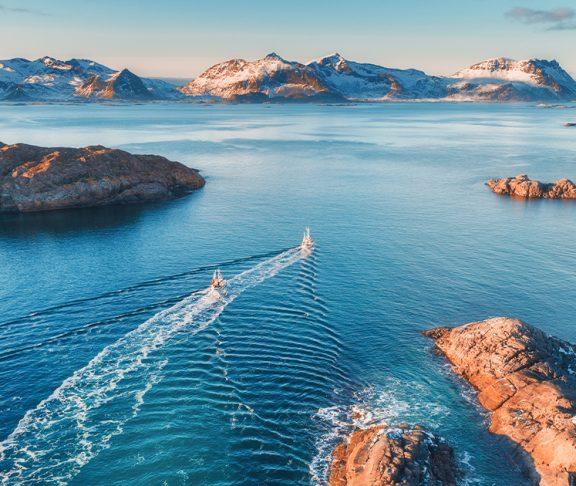 Dronebilde av Lofoten