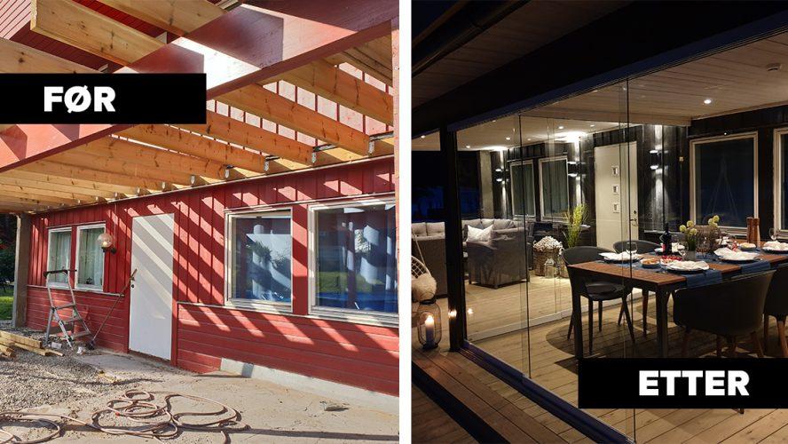 Før- og etterbilde av uteplass under veranda