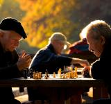 ældre mænd spiller skak