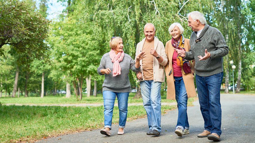 ældre går en tur sammen som en aktivitet i hverdagen