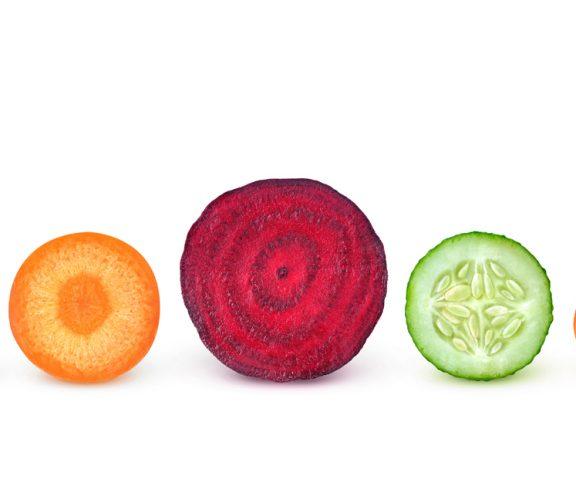 Tværsnit af 5 forskellige grøntsager
