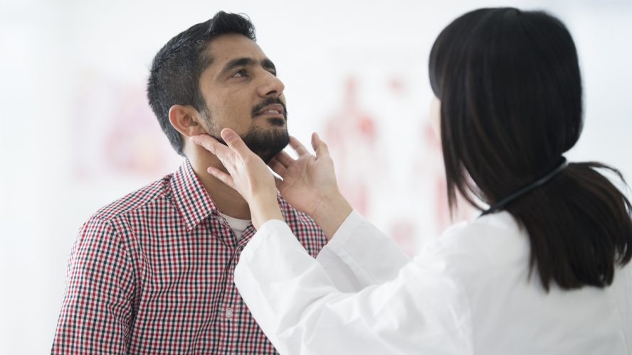 Checking the Size of a Man's Lymph Nodes