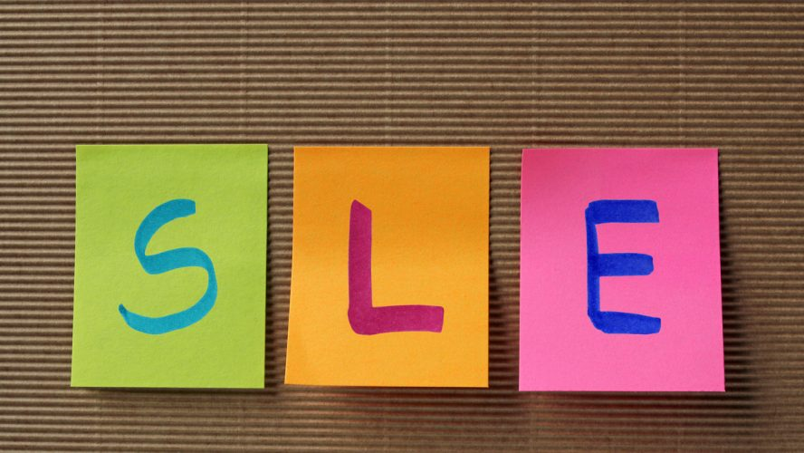 SLE acronym on colorful sticky notes