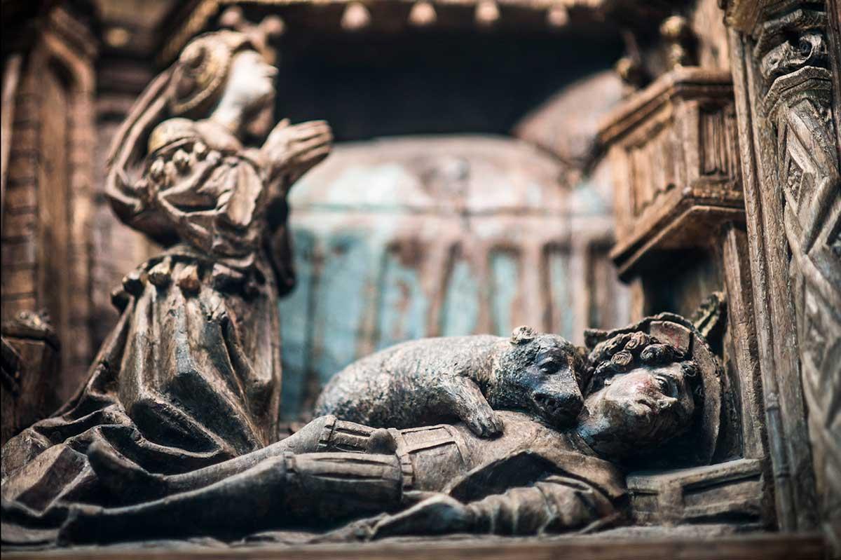 Retabel van de heilige Columba (detail), Deerlijk, Sint-Columbakerk