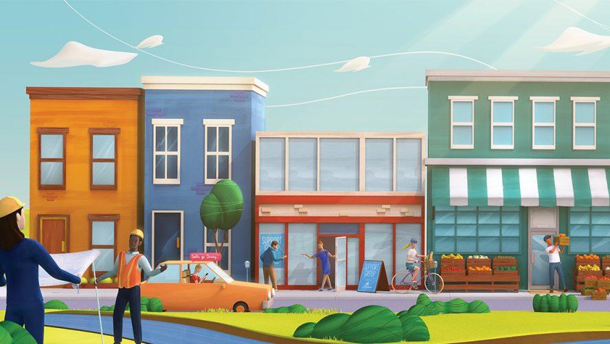 a cartoon street scene