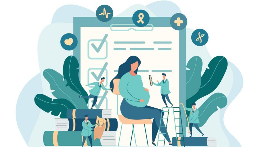 Illustration of an expectant mother in front of doctors and digital tablets