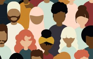 Flat illustration of diverse people