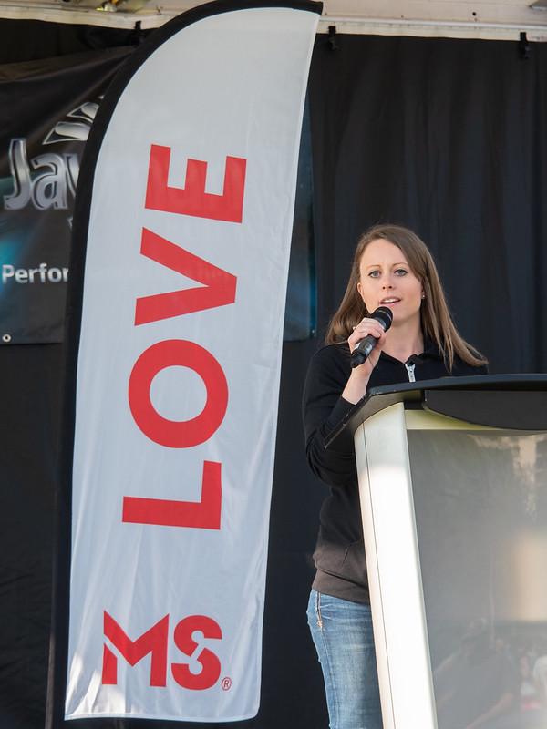 Susan Van Hart giving a speech