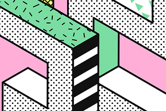 grafisk mønster på lyserød baggrund