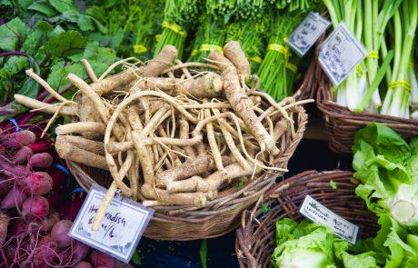 farmer's market horseradish, beets, green garlic and lettuce