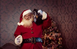 Santa is listening to boom box