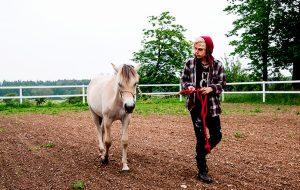 en dreng går med hest på et bosted