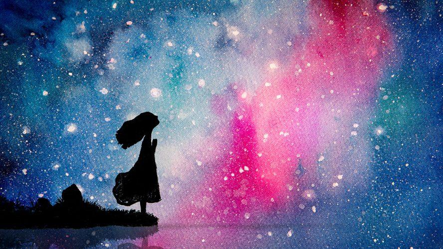 Akvarel med kvinde, der ser op på stjernene