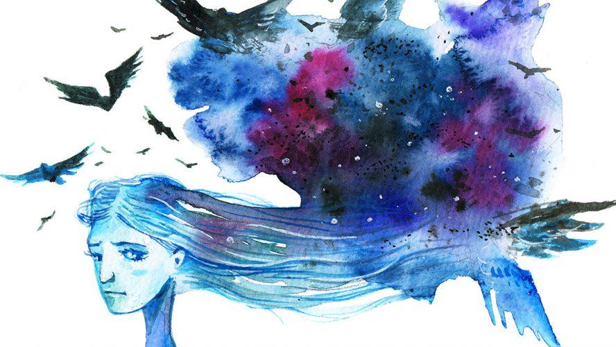 Illustration i akvarel med trist pige med abstrakt hår