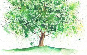 Træ malet i akvarel
