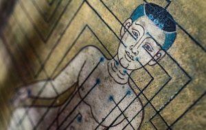 Ældre tempelmaling af akupunkturpunkter
