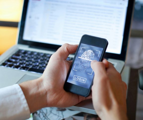 fingerprint login access on smartphone, data security concept
