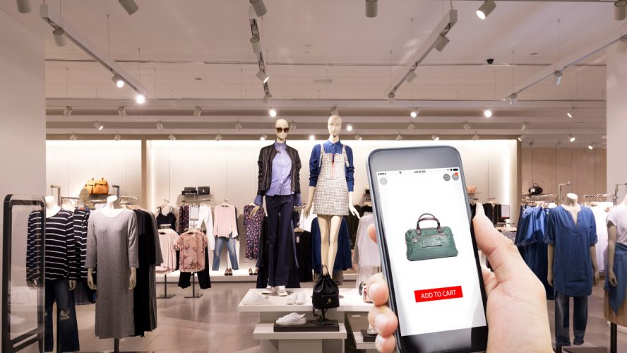 mobile phone with online shopping in modern fashion shop