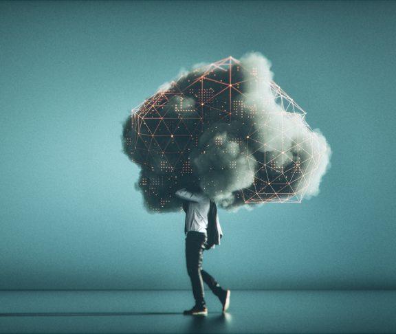 Humorous mobile cloud computing conceptual image.