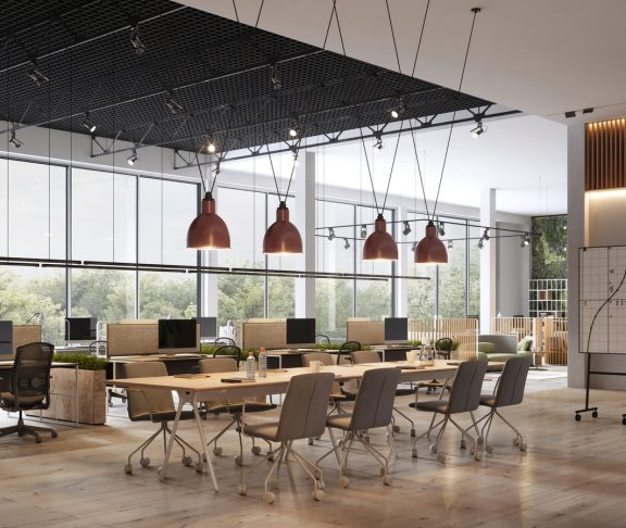 Computer generated image of a modern office space. Interior of open space office in 3d.